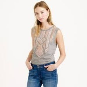 J. Crew Blush Lace Applique Grey Tank Top - Small
